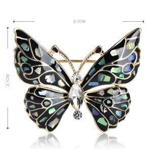 Jewelry - Black Butterfly Brooch with Crystals